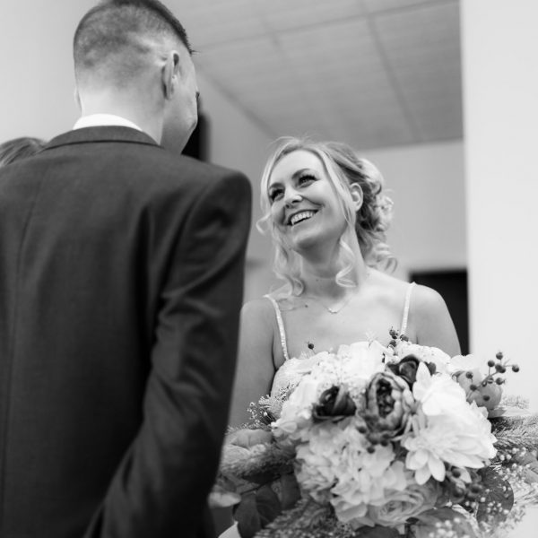 Leeds Wedding Photography at St James Hall, Oldham. Bride and Groom in Church wedding.